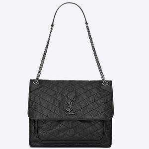 YSL Medium NIKI bag in Vintage Black Leather